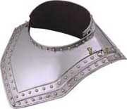This stylish medieval knight's armor gorget (collar) wears well with our chainmail clothing and affords valuable protection to vulnerable areas of the neck and collarbone during swordplay and battles! Of course its beauty also makes it just the right accent to all armor collections.
