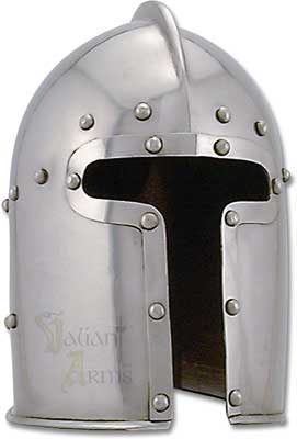 The european barbute helmet, circa 1460 is a prime example of the true genius of early Italian helm smiths! The Barbute style helm provided visibility so crucially needed in battle while providing protection of the neck.