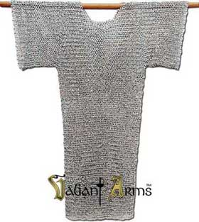 Chainmail Hauberk (Shirt) Riveted Flat Steel