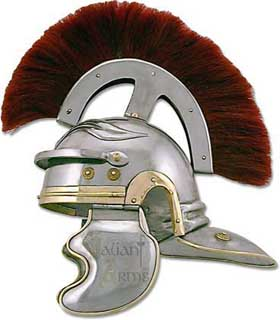 "Imperial Rome Centurion Guard Helmet. The Main officers of the Imperial Roman guard were the Centurions, each in charge of 100 men, hence the name ""century"". These Centurion Generals wore adorned plumed helms that could be easily seen in battle."