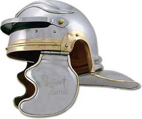 "This full size wearable troopers roman helmet is hand crafted in the style worn by the Legionary Roman infantry troops who marched across Europe from 100 to 299 A.D. The Brass accents and piping portray the Gallic influences of armourers at this time, extremely evident is the ""embossed"" eyebrows at the top of the skull."